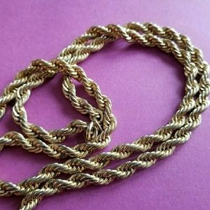 Vintage gold tone chain necklace rope